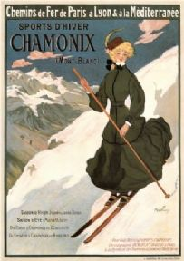 Vintage French skiing poster - Chamonix 1905